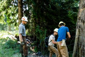 USACE Lead Ranger Gus Garbe oversees fence building by Orofino CBYCC Crew Members Malachi Kirk and Christian Norman